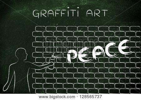 Man Writing Peace As Wall Graffiti, Caption Graffiti Art