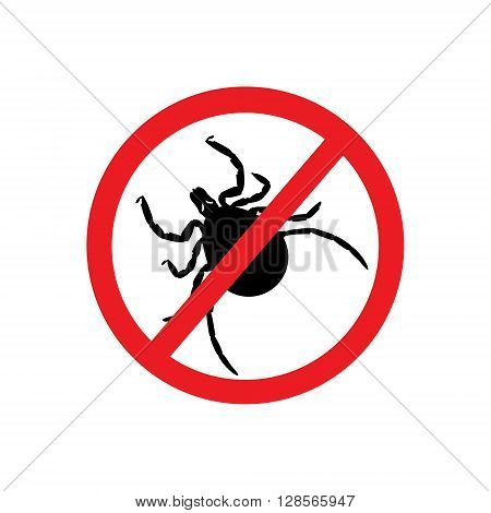 Vector illustration dangerous parasite mite warning sign. Anti parasite sign. Stop mite icon