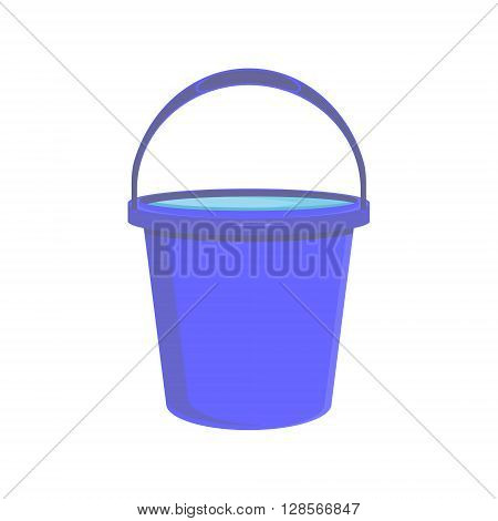 Vector illustration full of water blue bucket icon sign or symbols for app. Bucket for garden