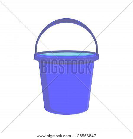 Vector illustration full of water blue bucket icon sign or symbols for app. Bucket for garden