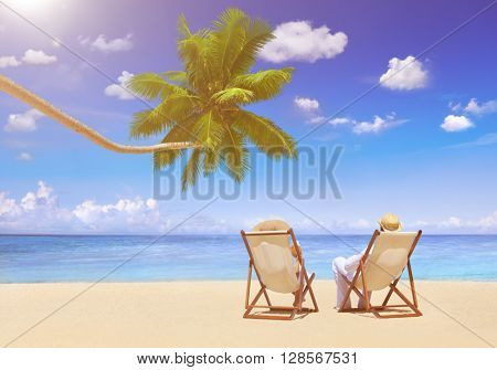 Couple Relaxation Vacation Summer Beach Holiday Concept