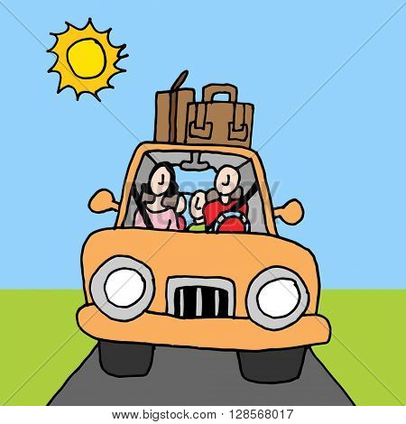 An image of a family car road trip.