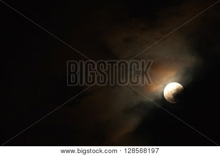 Moonlight Blood Moon Phase On The Dark Cloudy Sky