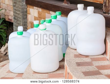 Group of drinking water tank from delivery service in Thailand.