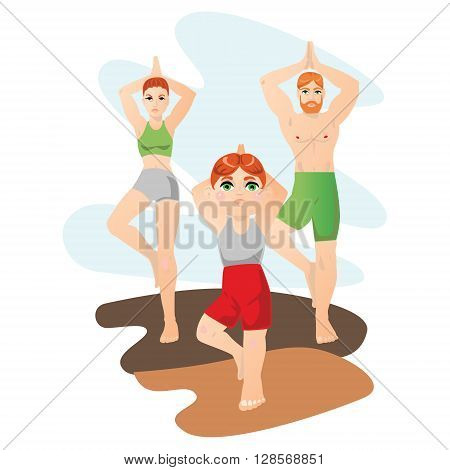 Vector illustration with family with one child doing yoga asanas