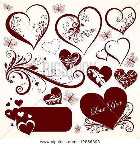 Love valentine day vector set for design