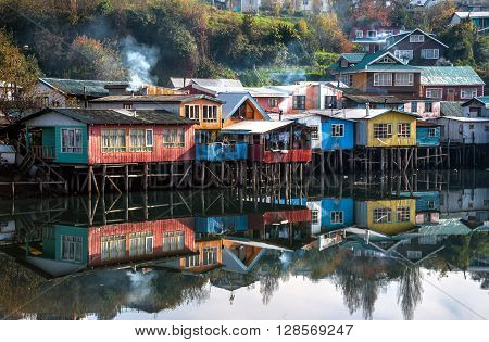 Palafitos Houses in Castro, Patagonia Chiloe, Chile