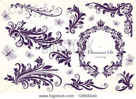 Set of floral ornaments for design