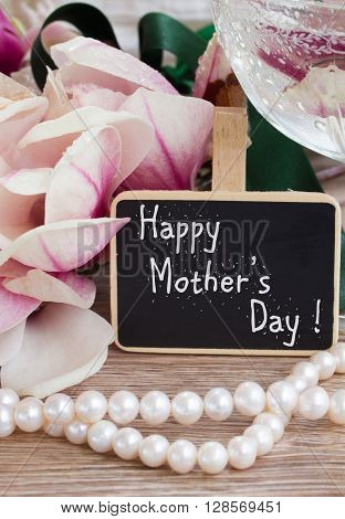 happy mothers day  greetings  - magnolia flowers and pearls