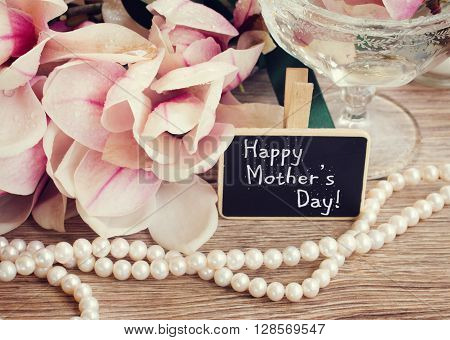 happy mothers day  greetings  - magnolia flowers and pearls strands