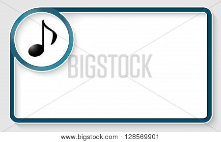 Blue text frame and white circle box with music symbol