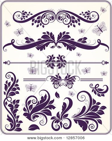 Retro floral vector ornament set