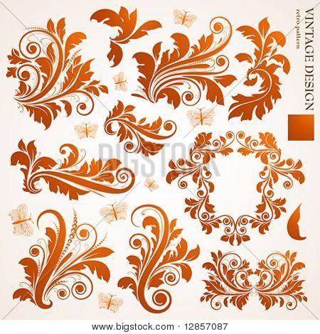 Satz von floralen Ornamente für design