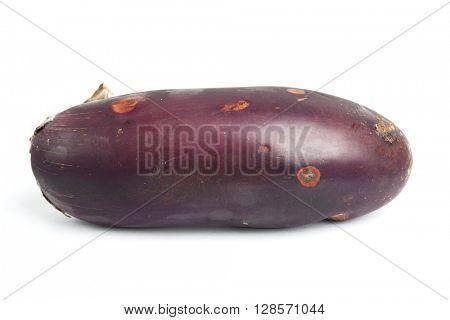 Rotten eggplant isolated on white background