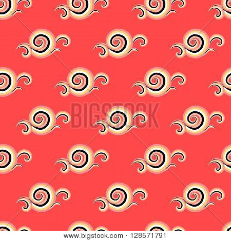 Vector seamless pattern with elegant red curls and swirls. Luxury texture with waves. Asian ornament with sky and abstract clouds. Drawn Japanese water graphic. Frost background. Christmas paper