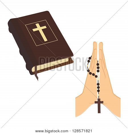 Vector illustration praying hands holding brown wooden catholic rosary beads and Holy Bible. Religious symbols. Praying symbol. Hands prayer icon