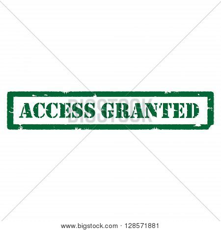 Vector illustration green grungy stamp with text access granted inside rectangle isolated on white background.