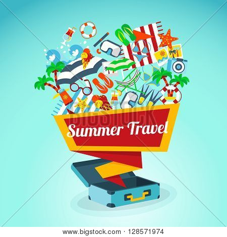 Concept poster with abstract bag and summer travel slogan springing out with sunglasses towel flop flops and other symbols of summer beach vacation vector illustration