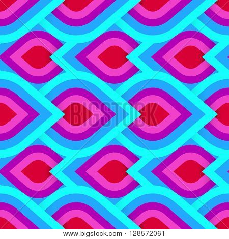 Vector geometric pattern with abstract leaf ornament in pink blue colors. Bold geometry print in art deco style with drops. Seamless background with ethnic, Arabic, Indian, Turkish, ottoman motifs