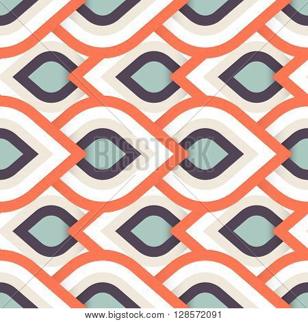 Vector geometric pattern with abstract leaf ornament in bright multiple color. Bold geometry print in art deco style with drops. Seamless background with ethnic, Arabic, Indian, Turkish, ottoman motif