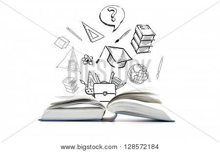 education, learning and school concept - open book and doodles