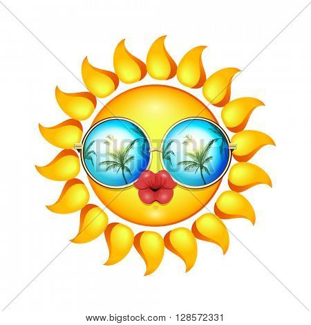 Summer Sun Face with sunglasses and full lips. Vector Illustration.