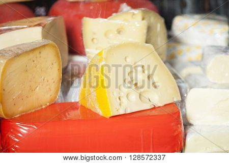 Cheese Pieces Displayed In Shop