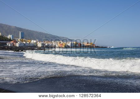 The coast of Atlantic ocean in Puerto De La Cruz one of the most popular touristic towns Canary islands Spain