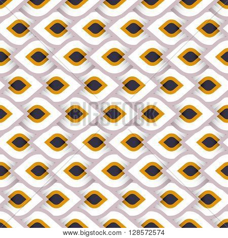Vector geometric pattern with abstract leaf ornament in cute multiple colors. Bold geometry print in art deco style with drops. Seamless background with ethnic, Arabic, Indian, Turkish, ottoman motifs
