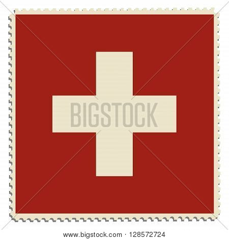 Vector illustration flag of Switzerland on postage stamp. Switzerland flag on post stamp