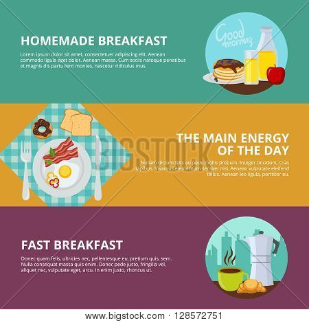 Breakfast flat horizontal banner set with headlines of homemade breakfast the main energy of the day and fast breakfast vector illustration