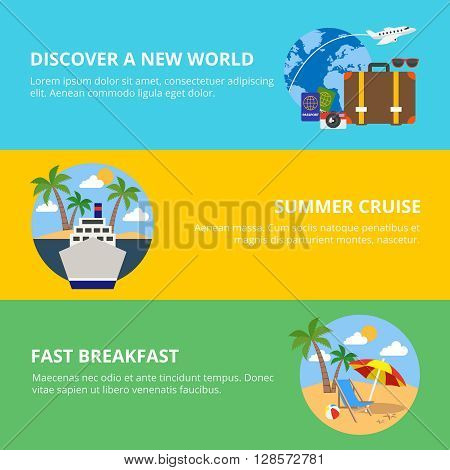 Travel horizontal flat banners set with summer cruise discovery new world breakfast on beach isolated vector illustration