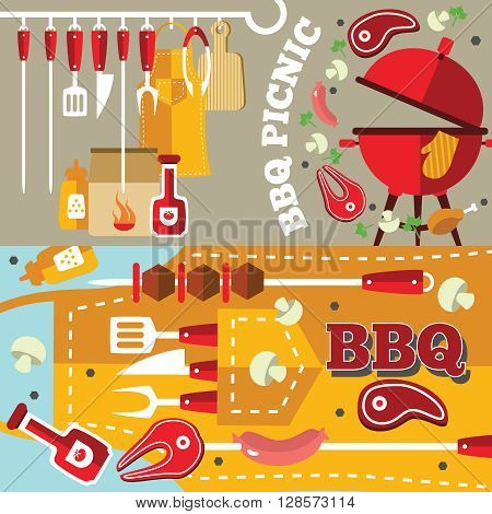 BBQ flat  banner set with different tools food and facilities on the apron background vector illustration
