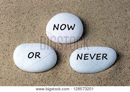 Business quotes: now or never text on a stones with sand background
