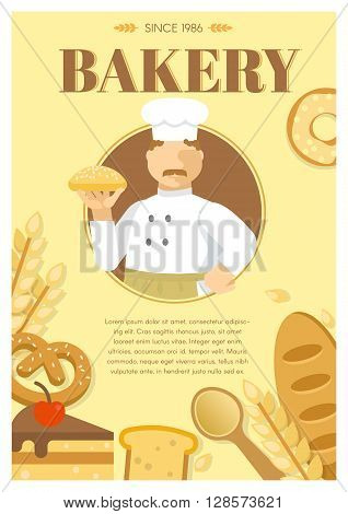 Baker and flour products poster with man in center wheat bread spoon on beige background vector illustration