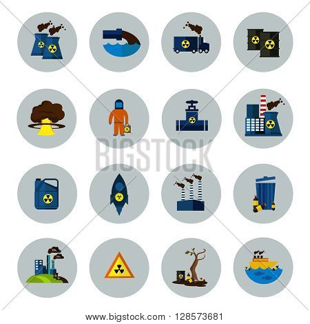Environmental Pollution Colored Icon Set in circles with equipment tools for energy and nuclear power station vector illustration