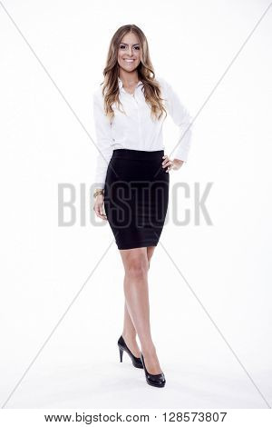Silhouette of beautiful young adult attractive sexy and sensuality happy smiling pretty brunette woman elegance business style dress, Isolated on white background