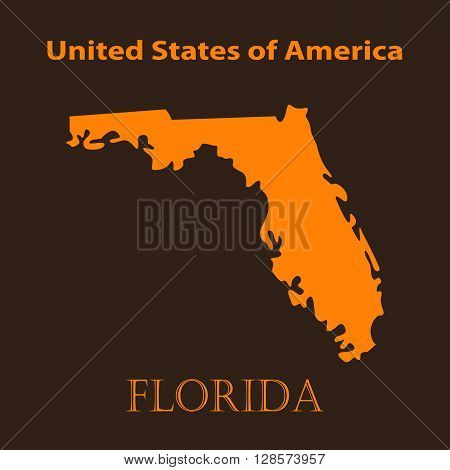 Orange Florida map - vector illustration. Simple flat map of Florida on a brown background.