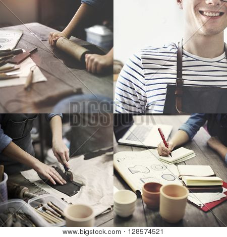 Craftsman Artist Pottery Skill Workshop Concept