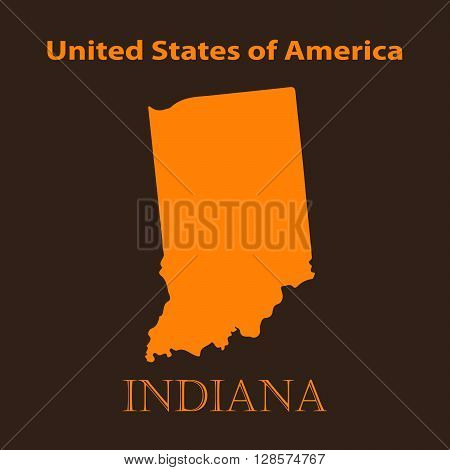 Orange Indiana map - vector illustration. Simple flat map of Indiana on a brown background.