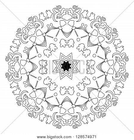 Black and white east illustration of circular pattern or mandala on isolated background