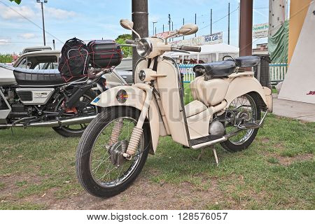 PIEVE CESATO RA ITALY - MAY 2: old italian big wheel scooter Aermacchi Zeffiro 150 (1956) in classic motorcycle rally