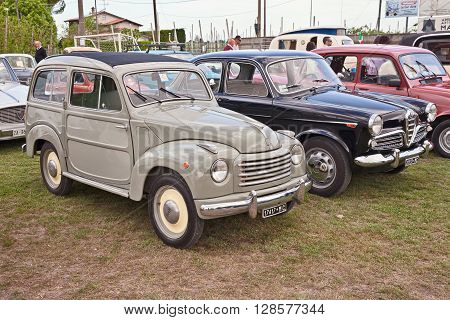 PIEVE CESATO RA ITALY - MAY 2: classic italian car Fiat Topolino 500 C Belvedere 3-door estate of the fifties in classic car rally