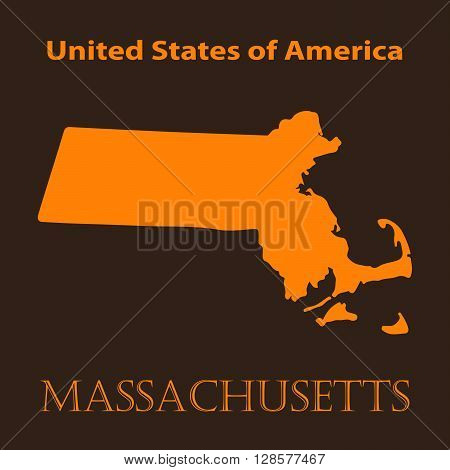 Orange Massachusetts map - vector illustration. Simple flat map of Massachusetts on a brown background.