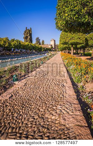 Gardens at the Alcazar de los Reyes Cristianos in Cordoba Spain