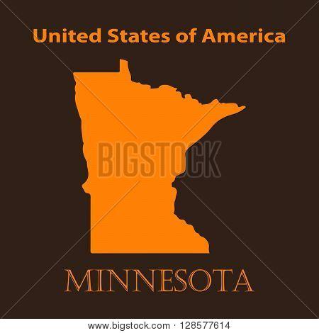Orange Minnesota map - vector illustration. Simple flat map of Minnesota on a brown background.