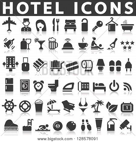 Hotel Icons on a white background with a shadow