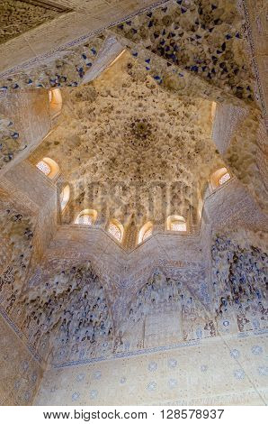 Two sisters hall in alhambra of granada Granada Andalusia Spain