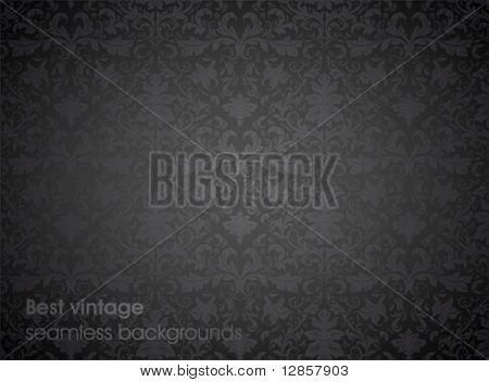 Seamless wallpaper pattern, black. For retro design, web site or flyer background. Detailed ornament.