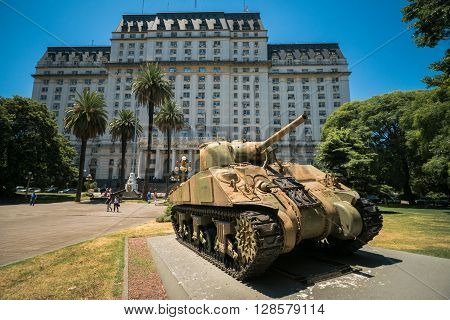 Buenos Aires Argentina Feb 01: Tank Sherman M4A4 in front the Libertador Building headquarters of the Ministry of Defense of Argentina is a ministry of the national executive power on 1 February 2016 in Buenos Aires Argentina.